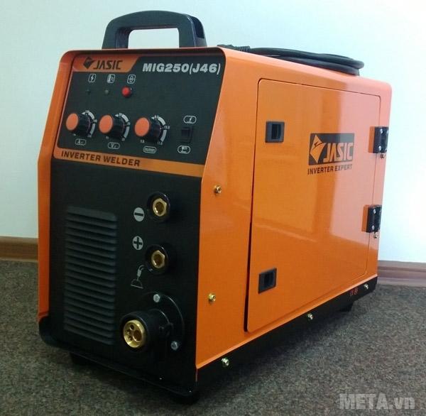 Máy hàn bán tự động Jasic MIG 250 (J46) có màu cam đen nổi bật.