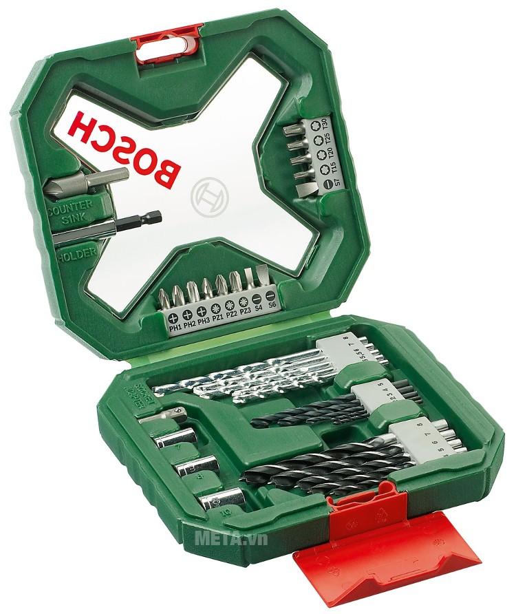 Bộ mũi khoan và vặn vít X-Line Bosch 2607010608 sắp xếp 34 chi tiết rất gọn gàng.