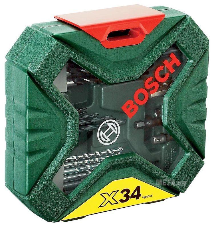 Bộ mũi khoan và vặn vít X-Line Bosch 2607010608 có nắp trong suốt dễ quan sát các chi tiết bên trong.