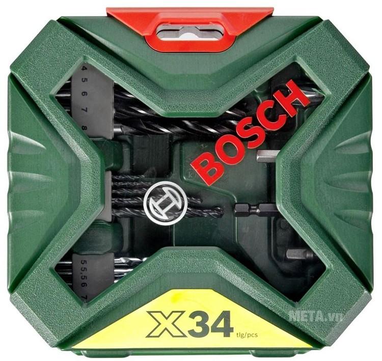 Bộ mũi khoan và vặn vít X-Line Bosch 2607010608 có hộp đựng bảo quản các chi tiết.