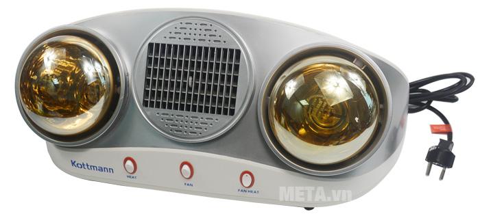 Đèn sưởi nhà tắm Kottmann K2B-HW-S có 3 công tắc riêng biệt.