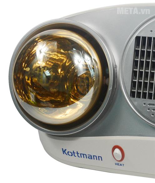 Đèn sưởi nhà tắm Kottmann K2B-HW-S sử dụng bóng sưởi Hans siêu bền.
