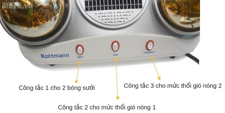 Các chức năng của đèn sưởi nhà tắm Kottmann K2B-HW-S