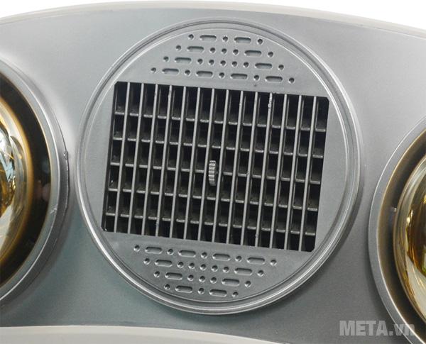 Đèn sưởi nhà tắm Kottmann 2 bóng K2B-HW-S thiết kế quạt thổi gió nóng ở giữa.