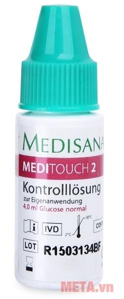 Lọ dung dịch chuẩn kiểm tra máy và que thử đi kèm với máy đo đường huyết Medisana Meditouch 2