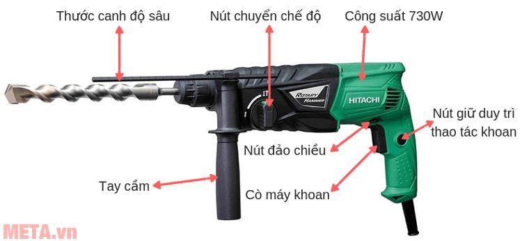 Cấu tạo của máy khoan động lực Hitachi DH24PG