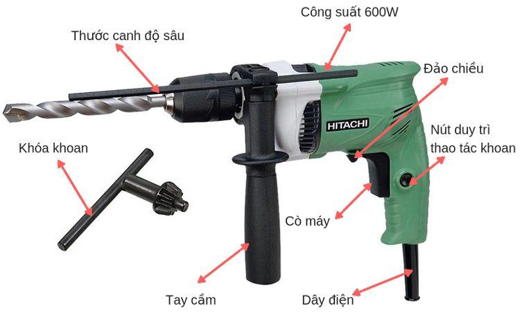 Máy khoan búa Hitachi DV16VSS có cấu tạo đơn giản, dễ sử dụng.