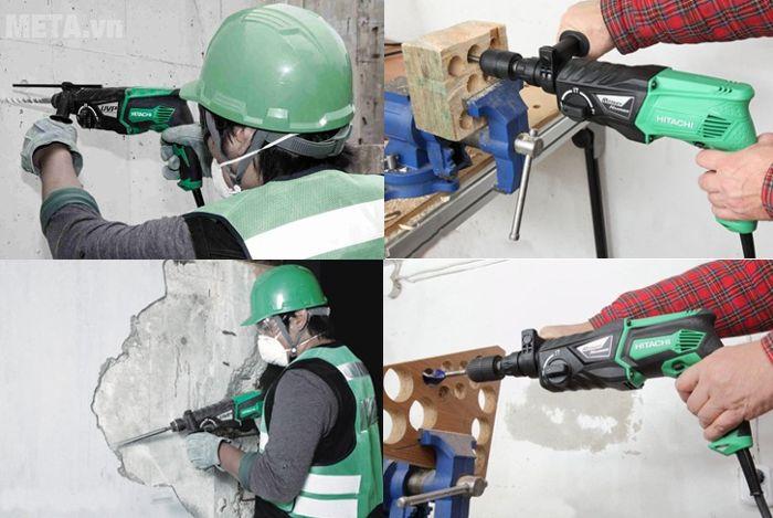 Máy khoan động lực Hitachi DH26PC khoan gỗ và khoan tường dễ dàng.