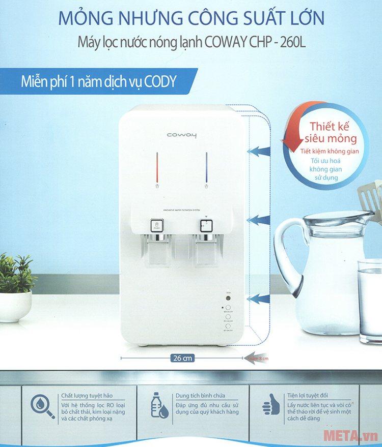 Máy lọc nước nóng lạnh Coway CHP-260L với thiết kế nhỏ gọn đem đến sự tinh tế cho không gian của gia đình.