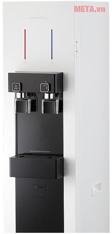 Máy lọc nước nóng lạnh Coway CHP-590R với thiết kế 2 bên lấy nước nóng, lạnh.