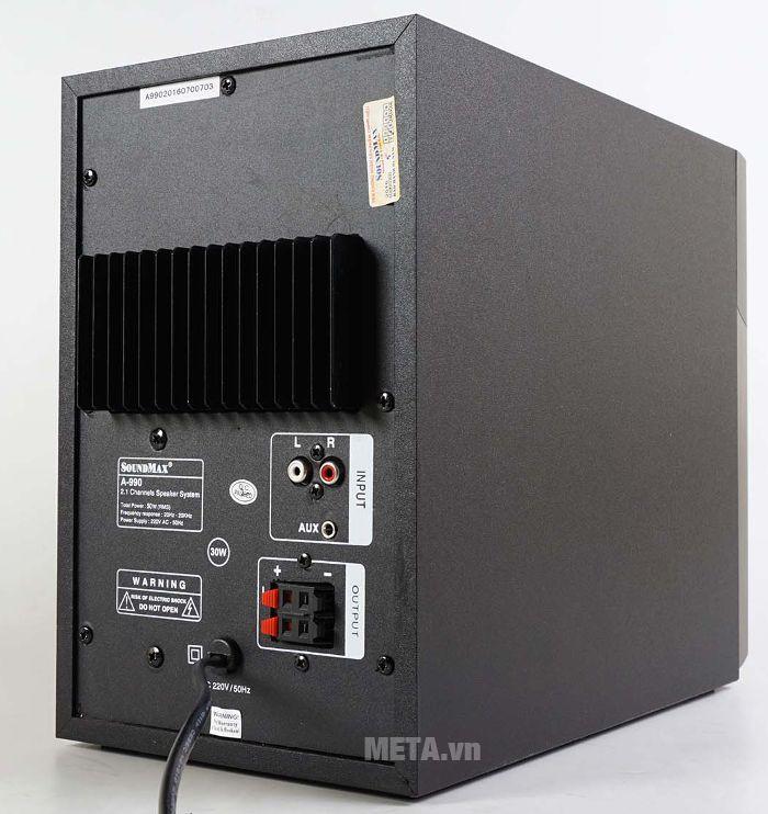SoudMax A-990 cũng trang bị cánh gió tản nhiệt lớn ở mặt sau loa sub.