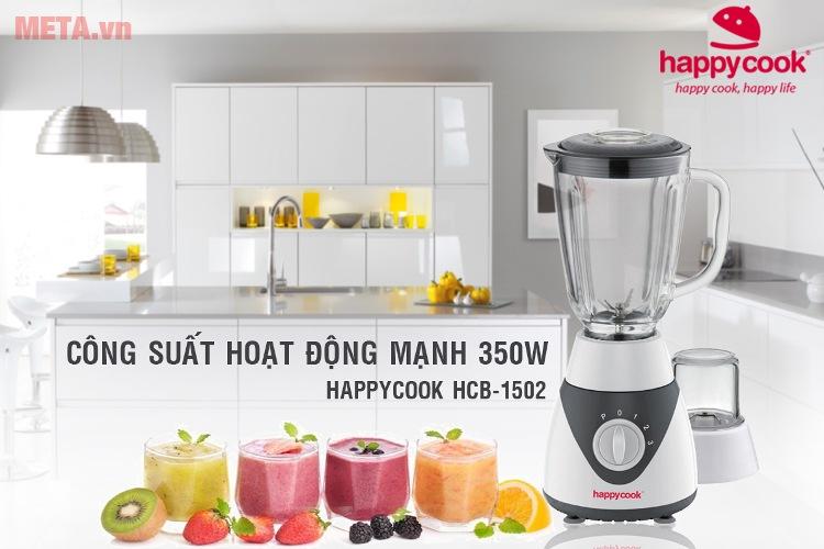 Máy xay sinh tố Happy Cook HCB-1502 hoạt động với công suất 350W.