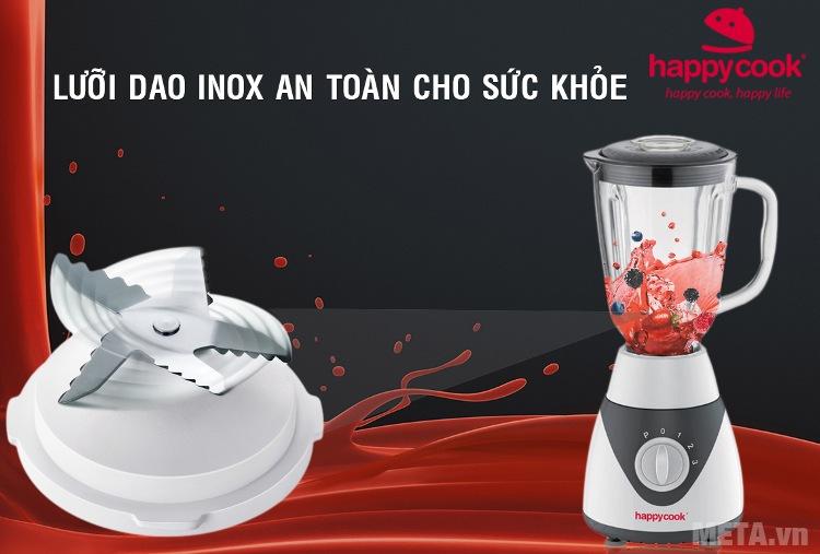 Máy xay sinh tố Happy Cook HCB-1502 với thiết kế lưỡi dao sắc bén.