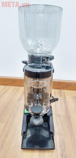 Máy xay cà phê Cunill Space Inox thiết kế ngăn đựng cà phê hạt và cà phê bột bằng nhựa trong suốt.