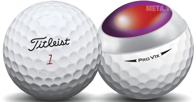 Bóng golf Titleist Pro V1X (New 2017) với thiết kế lõi bóng sử dụng công nghệ ZG Dual Core giúp cải thiện đường bay của bóng.