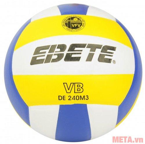 Bóng chuyền da PU Ebete DL-240M3 in thương hiệu trên bề mặt trái bóng.