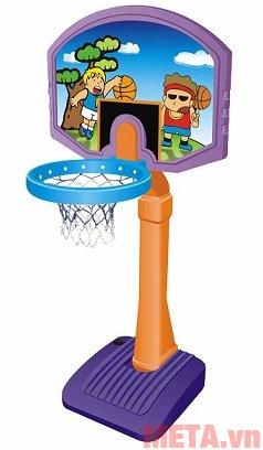 Cột ném bóng rổ cho bé L506 bao gồm 1 thân trụ, 1 lưới, tấm chắn và 1 quả bóng rổ đi kèm.