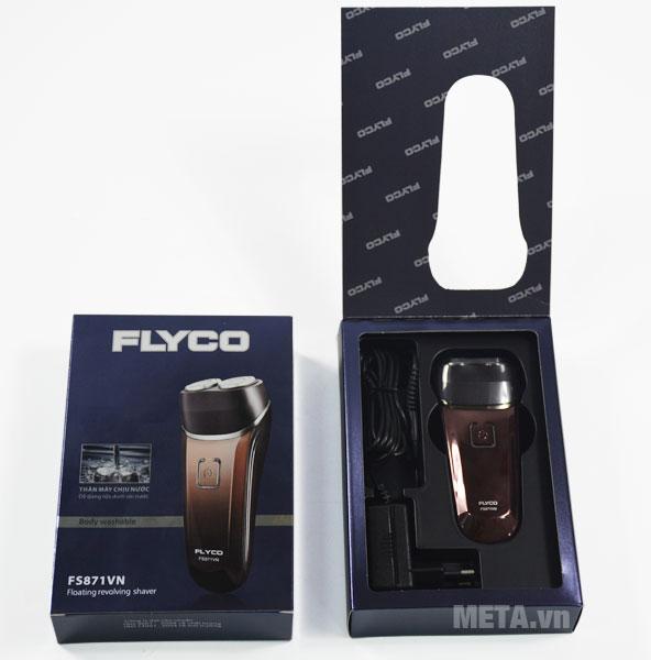 Đầu máy cạo râu Flyco FS 871 đi kèm dây sạc pin và hộp đựng