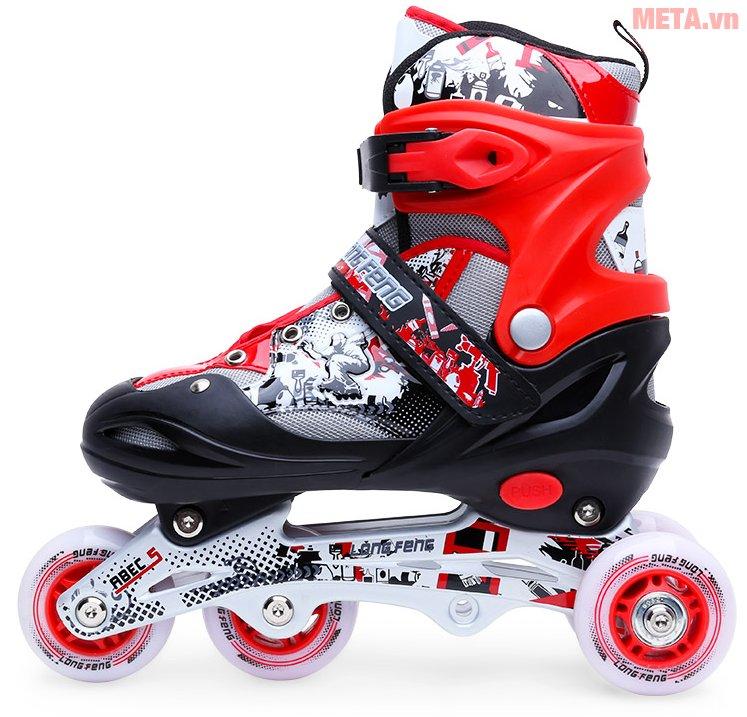 Giầy trượt patin Long Feng 906 New với gam màu đỏ đen sang trọng