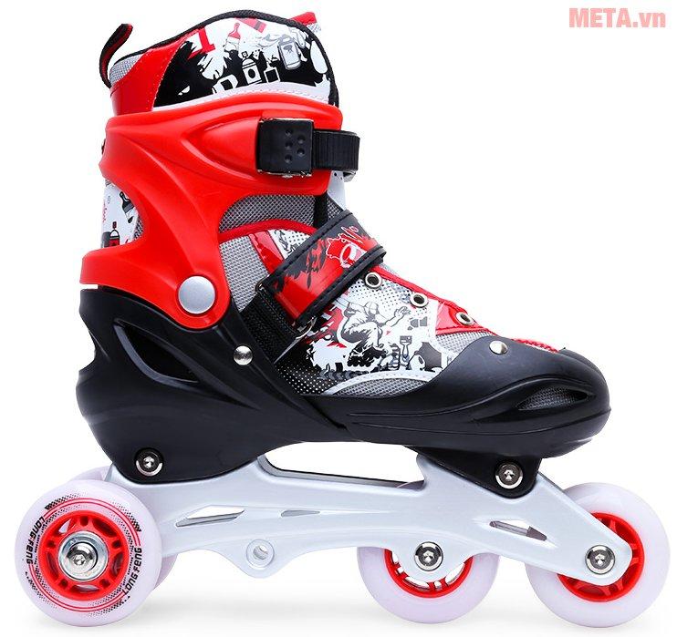 Giầy trượt patin Long Feng 906 New có hệ thống dây và khóa dễ dàng điều chỉnh theo kích cỡ của chân