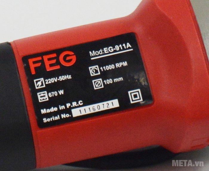 Máy mài góc FEG-911A in thông số trên thân máy