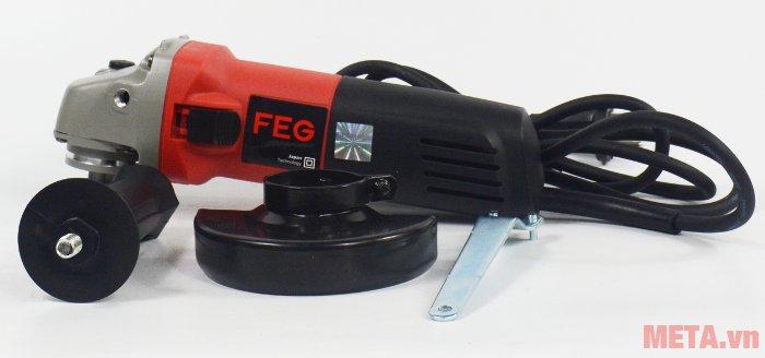 Máy mài góc FEG-911A đi kèm tay cầm phụ, vành chắn bảo vệ đĩa