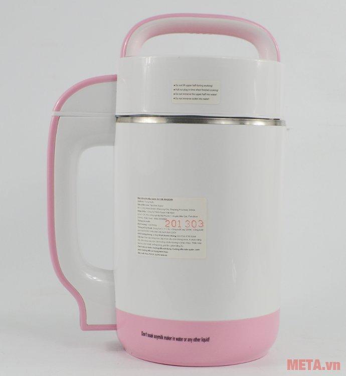Máy làm sữa đậu nành Supor DJ13B-W42GVN thiết kế tay cầm bằng nhựa chống nóng.