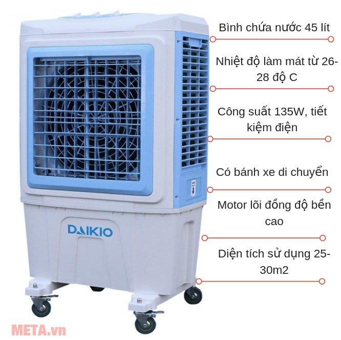 Máy làm mát không khí Daikio DK-5000D có điều khiển từ xa