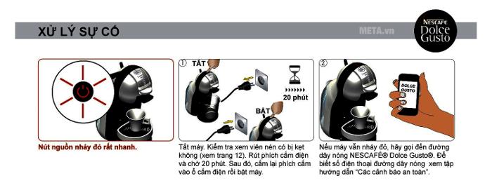 Đèn nguồn báo đỏ để cảnh báo ngưng sử dụng, cần tiến hành kiểm tra