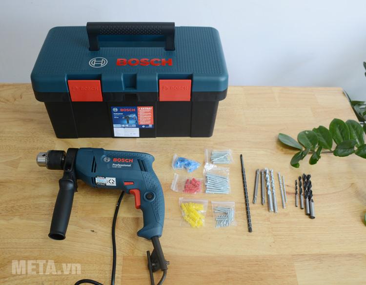 bộ máy khoan bosch gsb 550          miễn phídom set 550w và 90 chi tiết - bộ máy khoan cầm tay kèm 90 chi tiết