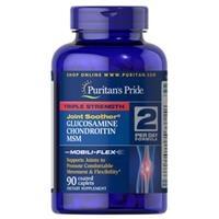 Viên uống hỗ trợ xương khớp Puritan's Pride Triple Strength Glucosamine, Chondroitin & MSM Joint Soother (17895 - hộp 90 viên)