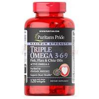 Viên uống hỗ trợ tim mạch Puritan'S Pride Maximum Strength Triple Omega 3-6-9 Fish, Flax & Chia Oils (51256 - Hộp 120 viên)