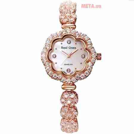 dong ho nu chinh hang royal crown 3816j rg hoa