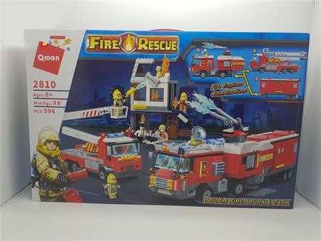 do choi lap ghep qman double fire truck attack biet doi cuu hoa fh2810