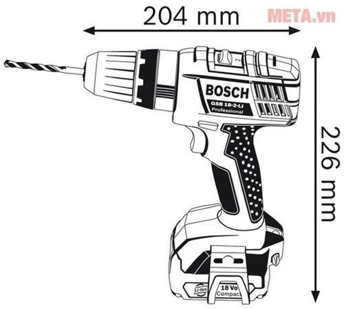 may khoan Bosch GSB 18 2 LI Professional kthuoc