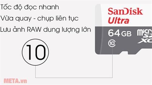 the nho 64gb sandisk micro sdhc 48 mb s class10