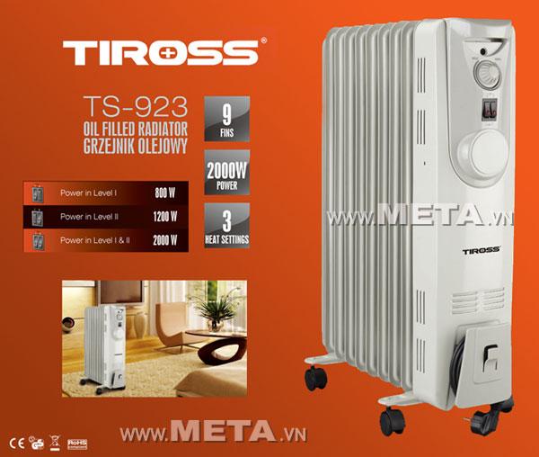 Máy sưởi dầu Tiross 9 thanh TS-923