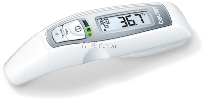 Nhiệt kế điện tử Beurer FT65 có đèn phát ra màu xanh sẽ thể hiện nhiệt độ cơ thể ở trạng thái bình thường.