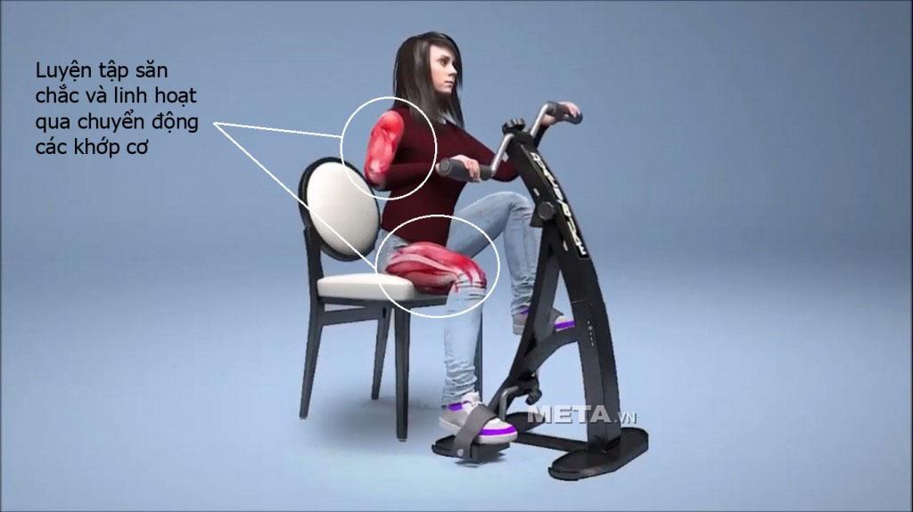 Xe đạp tập Dual Bike giúp luyện tập săn chắc và linh hoạt qua chuyển động các khớp cơ.