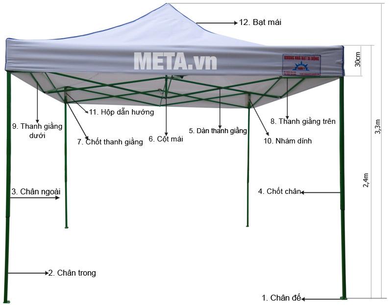 Sơ đồ cấu tạo của nhà bạt di động hàng Việt Nam