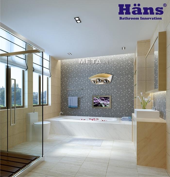 Đèn sưởi nhà tắm hồng ngoại Hans 3 bóng phù hợp với phòng có diện tích từ 4 -6 m2.