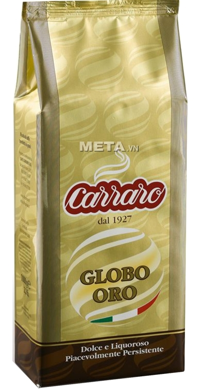Hình ảnh đóng gói cà phê hạt Carraro Globo Oro 1000g