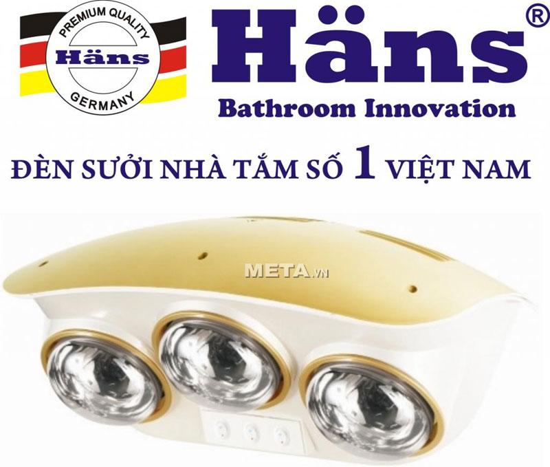 Đèn sưởi nhà tắm hồng ngoại Hans 3 bóng mẫu mã cũ
