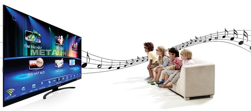 Đầu máy Karaoke BTE 3TB phát ra giao diện đẹp, dễ sử dụng.
