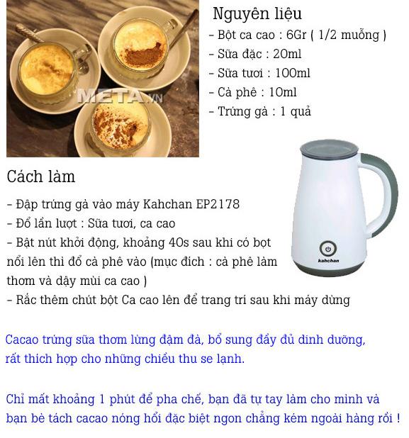 Cách tạo bọt cacao sữa trứng với máy đánh sữa Kahchan EP2178