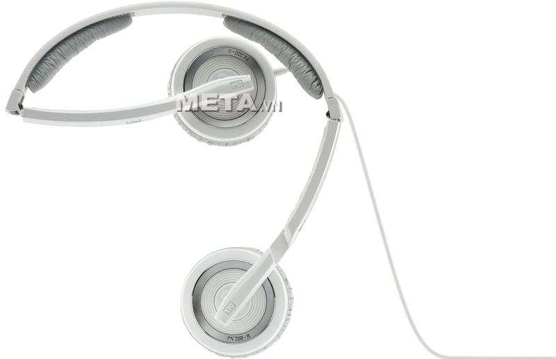 Tai nghe Sennheiser PX 200-II White được thiết kế với miếng đệm tai giả da