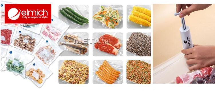 Bộ túi đựng thực phẩm hút chân không Elmich 2343662 giúp bảo quản nhiều loại thực phẩm khác nhau.