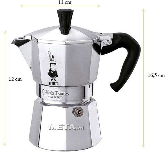 Kích thước của ấm pha cà phê Bialetti Moka Express 3TZ BCM-1162