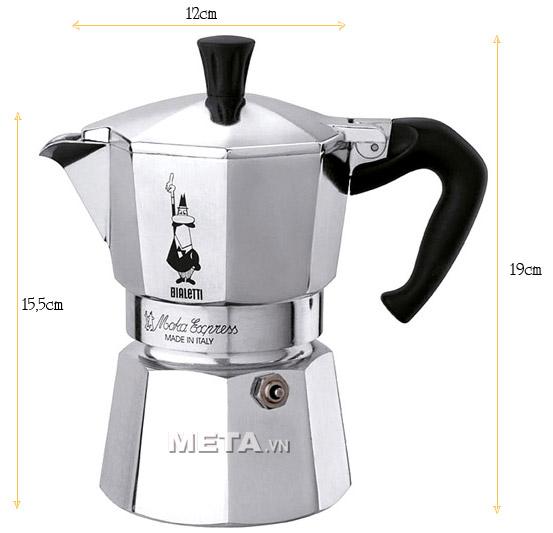kích thước thực tế của ấm pha cà phê Bialetti Moka Express 9TZ BCM-1165