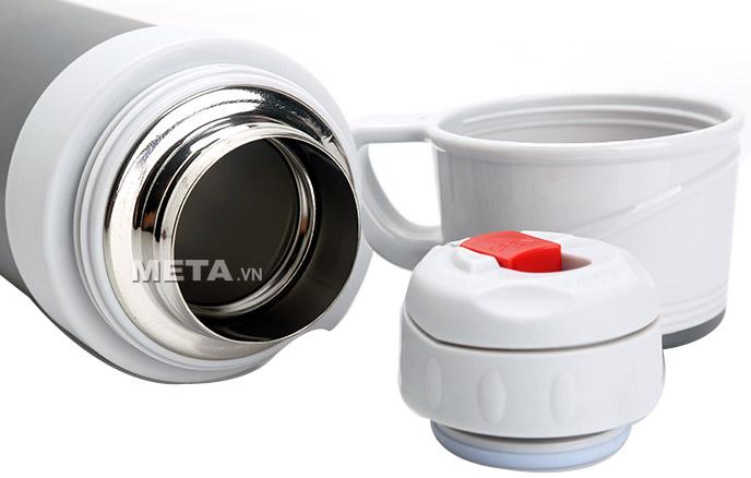 Nắp phích giữ nhiệt Elmich inox 304 800ml EL6493 (22466493)  thiết kế rời có thể làm cốc uống nước.